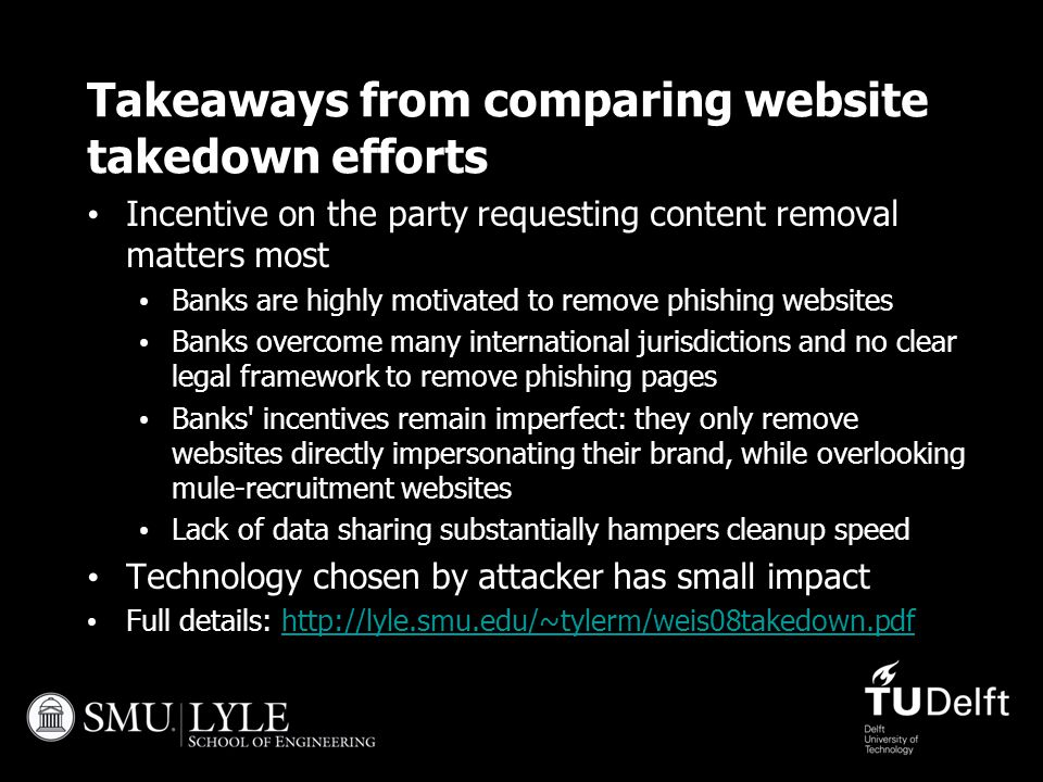 Takeaways from comparing website takedown efforts Incentive on the party requesting content removal matters most Banks are highly motivated to remove
