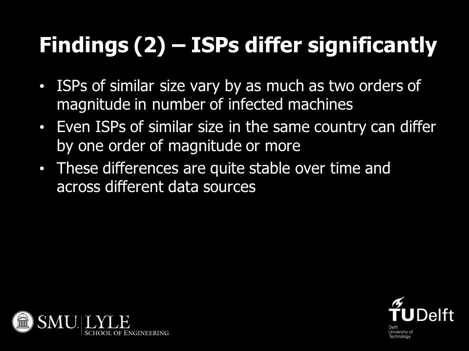 27 April 201525 Findings (2) – ISPs differ significantly ISPs of similar size vary by as much as two orders of magnitude in number of infected machine