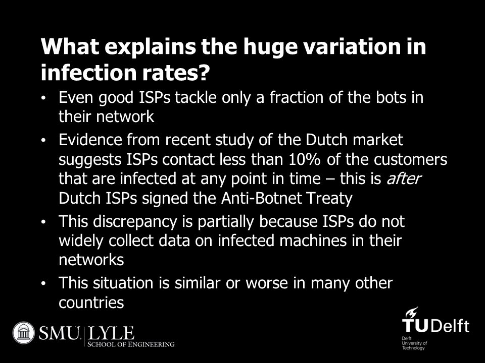 27 April 201532 What explains the huge variation in infection rates? Even good ISPs tackle only a fraction of the bots in their network Evidence from