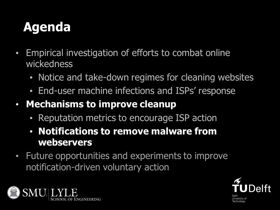 Agenda Empirical investigation of efforts to combat online wickedness Notice and take-down regimes for cleaning websites End-user machine infections a