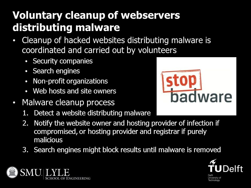 Voluntary cleanup of webservers distributing malware Cleanup of hacked websites distributing malware is coordinated and carried out by volunteers Secu