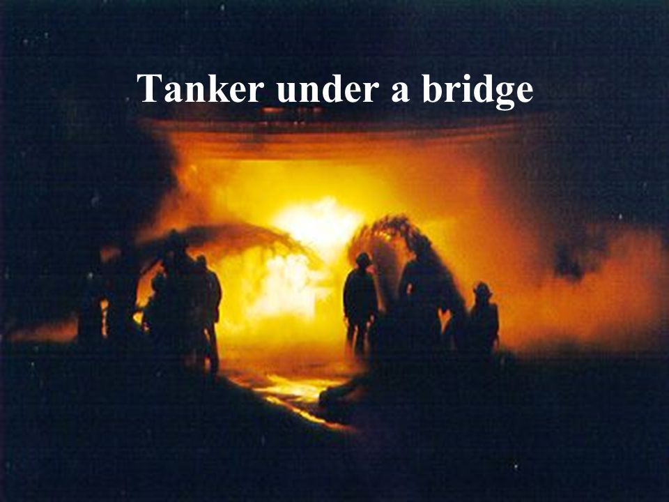 Tanker under a bridge