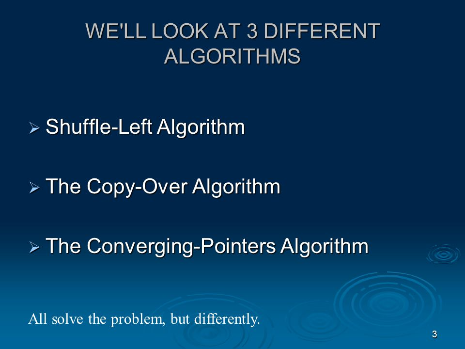 2 OUR NEXT QUESTION IS: How do we know we have a good algorithm? In the lab session, you will explore algorithms that are related as they all solve the same problem: Problem: We are given a list of numbers which include good data (represented by nonzero whole numbers) and bad data (represented by zero entries).