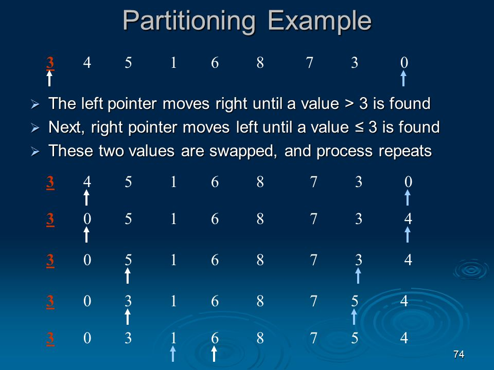 73 The First Quicksort Problem Question (1): What is the partitioning and how do we accomplish it.