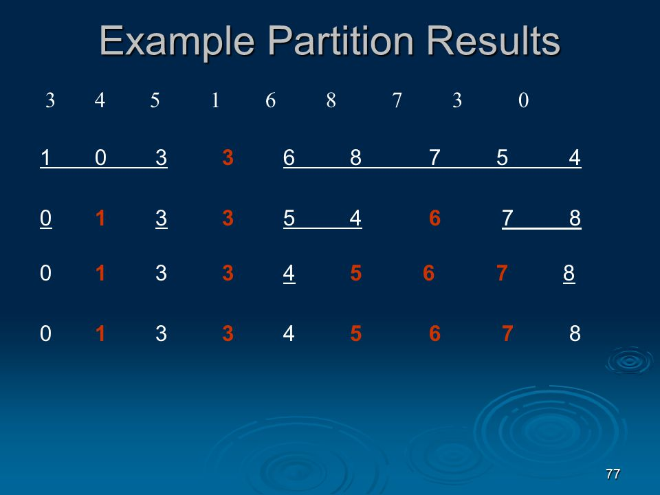 76 Partitioning Algorithm 1. Set the pivot to the first element in list 2.