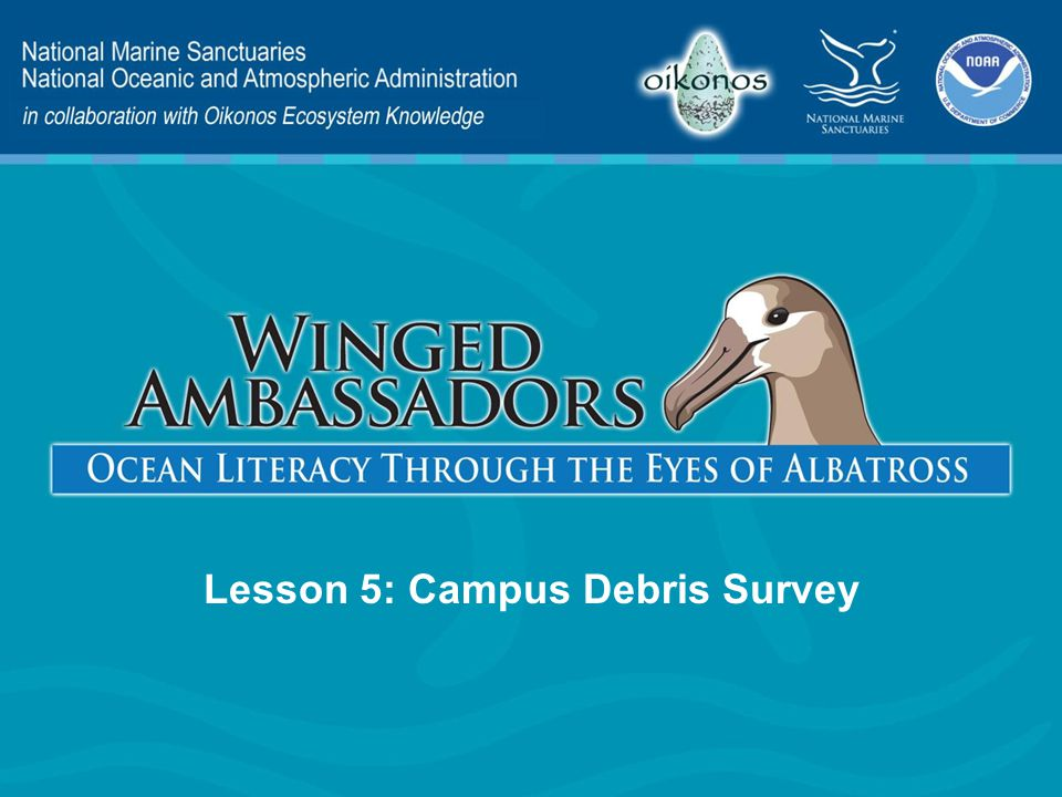 Lesson 5 Presentation Content Engage Explore Explain Elaborate Evaluate – Litter and Albatross – Litter on Our Campus – Analyzing Results – Our Litter and Albatross – Spreading the Word