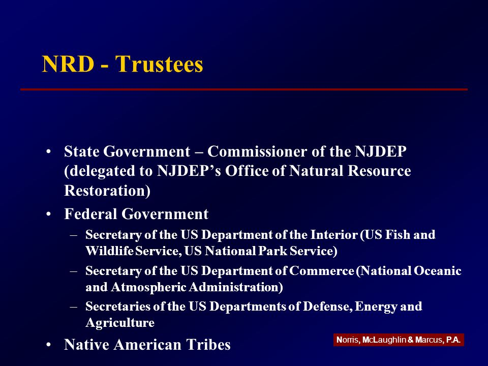 NRD - Trustees State Government – Commissioner of the NJDEP (delegated to NJDEP's Office of Natural Resource Restoration) Federal Government –Secretary of the US Department of the Interior (US Fish and Wildlife Service, US National Park Service) –Secretary of the US Department of Commerce (National Oceanic and Atmospheric Administration) –Secretaries of the US Departments of Defense, Energy and Agriculture Native American Tribes Norris, McLaughlin & Marcus, P.A.