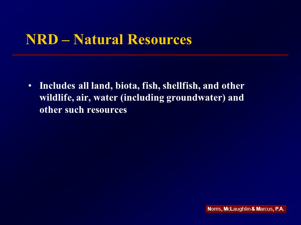 NRD – Natural Resources Includes all land, biota, fish, shellfish, and other wildlife, air, water (including groundwater) and other such resources Norris, McLaughlin & Marcus, P.A.