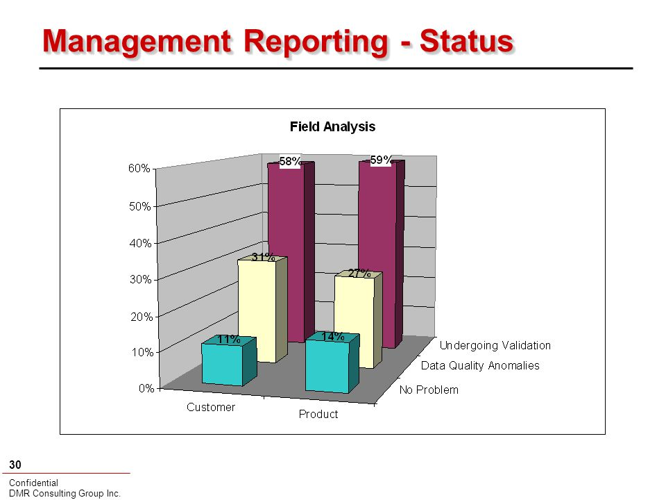 Confidential DMR Consulting Group Inc. 30 Management Reporting - Status