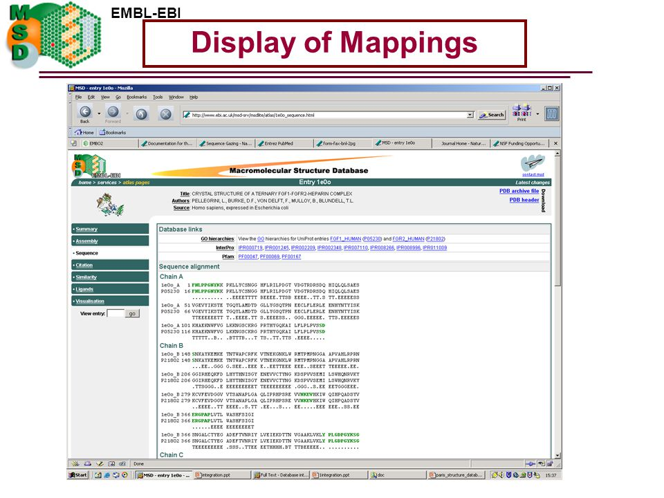 EMBL-EBI Display of Mappings