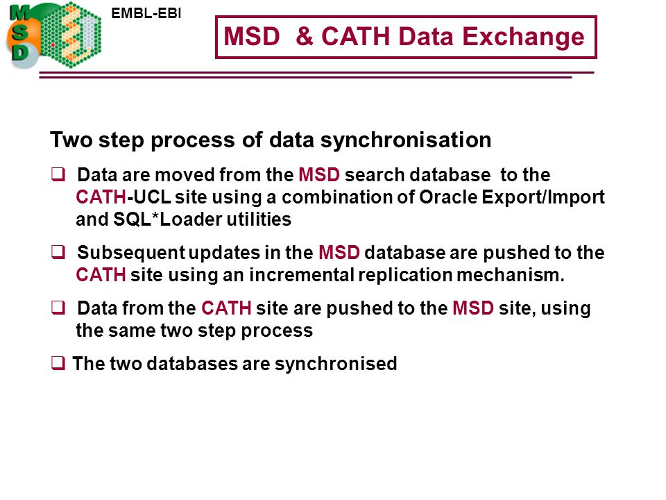 EMBL-EBI Two step process of data synchronisation  Data are moved from the MSD search database to the CATH-UCL site using a combination of Oracle Export/Import and SQL*Loader utilities  Subsequent updates in the MSD database are pushed to the CATH site using an incremental replication mechanism.