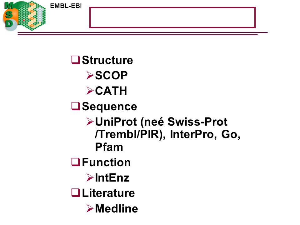 EMBL-EBI  Structure  SCOP  CATH  Sequence  UniProt (neé Swiss-Prot /Trembl/PIR), InterPro, Go, Pfam  Function  IntEnz  Literature  Medline