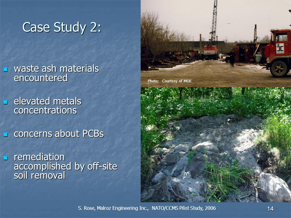 14 Case Study 2: waste ash materials encountered waste ash materials encountered elevated metals concentrations elevated metals concentrations concerns about PCBs concerns about PCBs remediation accomplished by off-site soil removal remediation accomplished by off-site soil removal S.