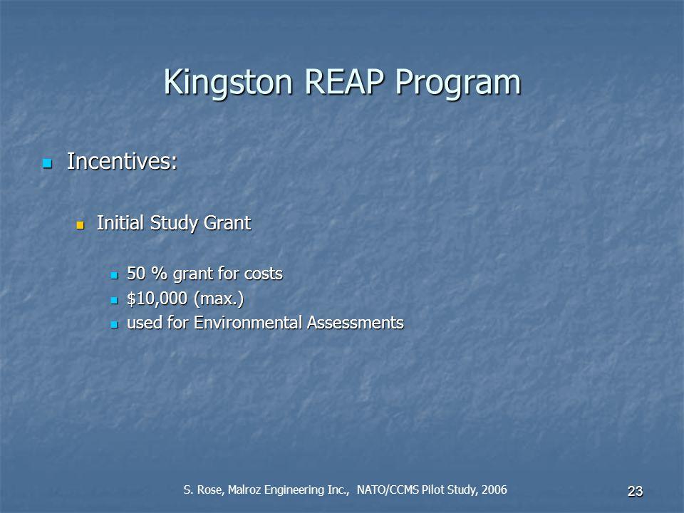 23 Kingston REAP Program Incentives: Incentives: Initial Study Grant Initial Study Grant 50 % grant for costs 50 % grant for costs $10,000 (max.) $10,000 (max.) used for Environmental Assessments used for Environmental Assessments S.