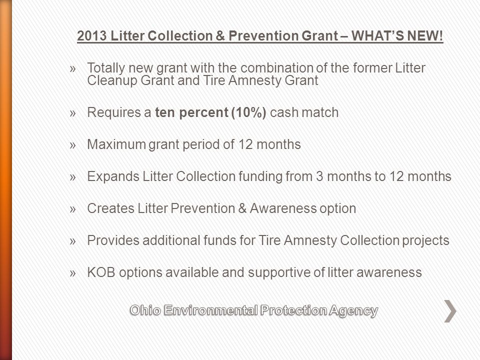 2013 Litter Collection & Prevention Grant – WHAT'S NEW.