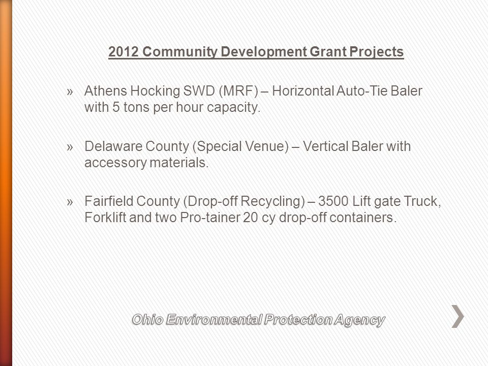 2012 Community Development Grant Projects »Athens Hocking SWD (MRF) – Horizontal Auto-Tie Baler with 5 tons per hour capacity.