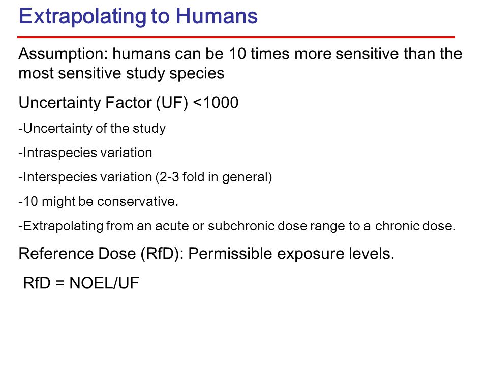 Extrapolating to Humans Assumption: humans can be 10 times more sensitive than the most sensitive study species Uncertainty Factor (UF) <1000 -Uncertainty of the study -Intraspecies variation -Interspecies variation (2-3 fold in general) -10 might be conservative.