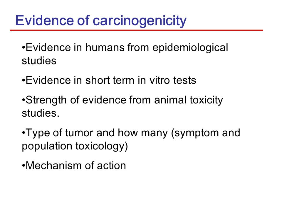 Evidence of carcinogenicity Evidence in humans from epidemiological studies Evidence in short term in vitro tests Strength of evidence from animal tox