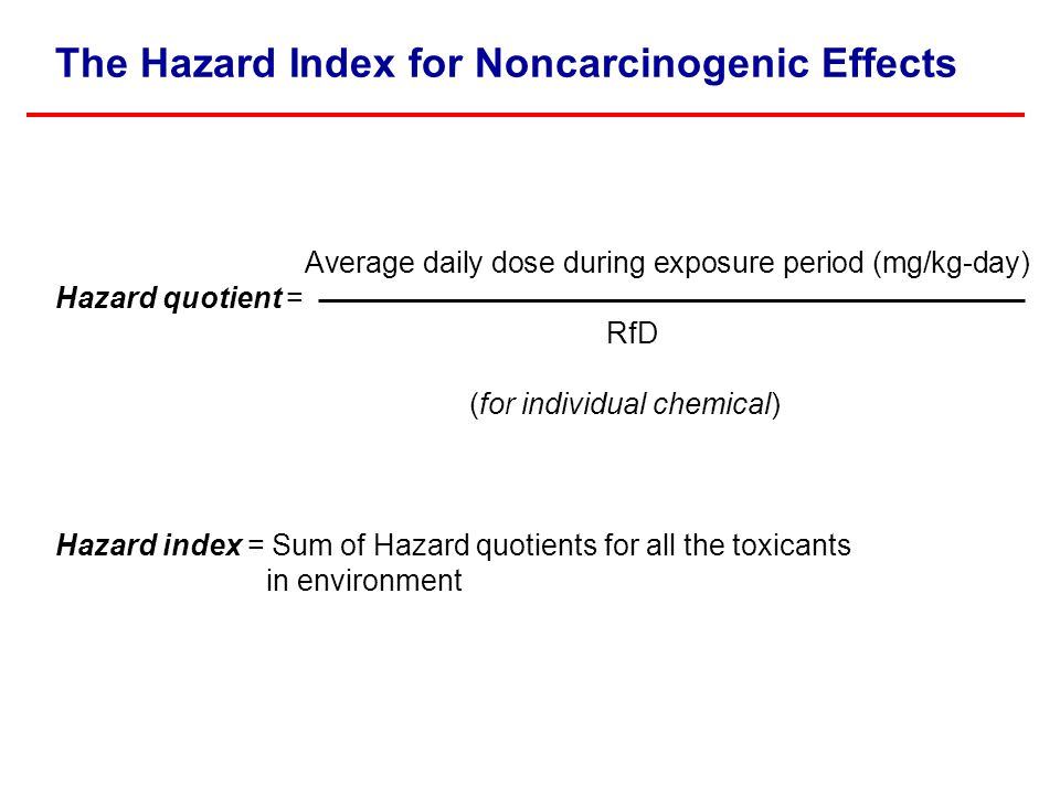 The Hazard Index for Noncarcinogenic Effects Average daily dose during exposure period (mg/kg-day) Hazard quotient = RfD (for individual chemical) Hazard index = Sum of Hazard quotients for all the toxicants in environment