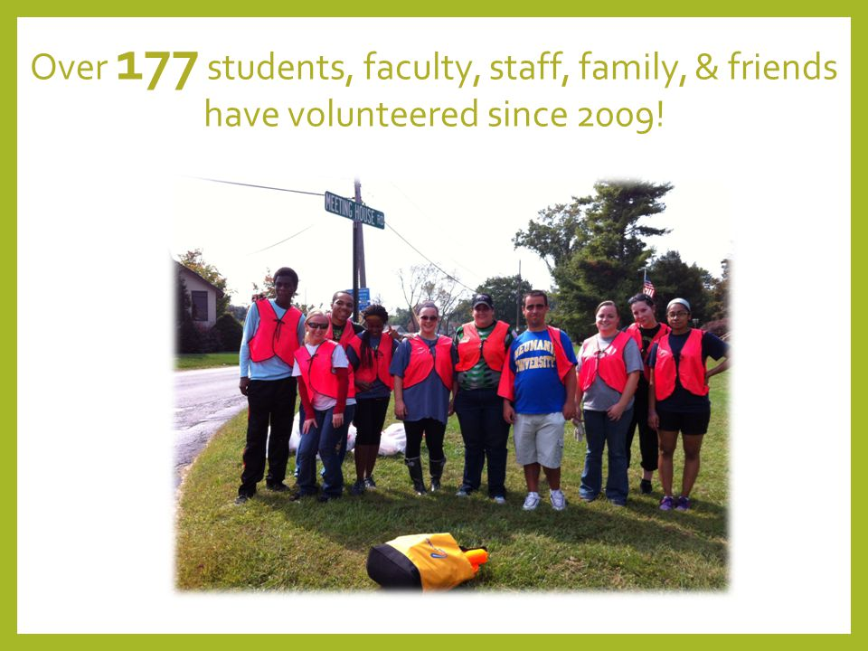 Over 177 students, faculty, staff, family, & friends have volunteered since 2009!