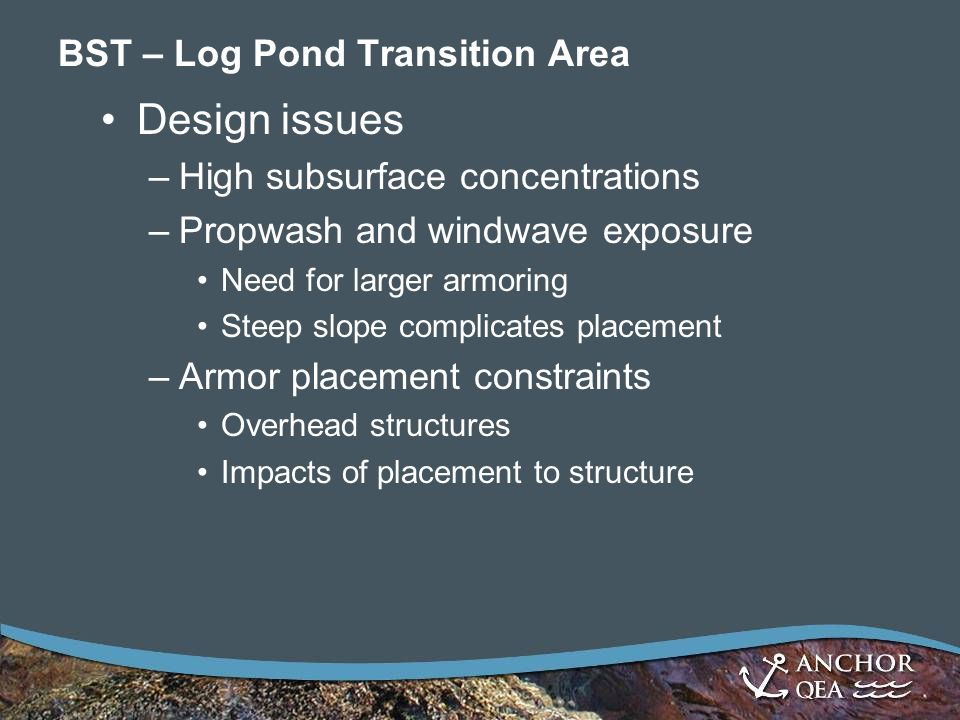 BST – Log Pond Transition Area Design issues –High subsurface concentrations –Propwash and windwave exposure Need for larger armoring Steep slope complicates placement –Armor placement constraints Overhead structures Impacts of placement to structure