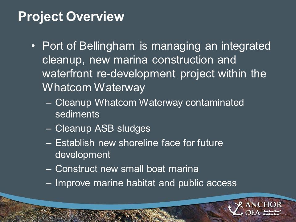 Project Overview Port of Bellingham is managing an integrated cleanup, new marina construction and waterfront re-development project within the Whatcom Waterway –Cleanup Whatcom Waterway contaminated sediments –Cleanup ASB sludges –Establish new shoreline face for future development –Construct new small boat marina –Improve marine habitat and public access