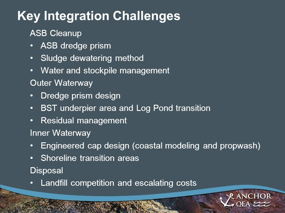 Key Integration Challenges ASB Cleanup ASB dredge prism Sludge dewatering method Water and stockpile management Outer Waterway Dredge prism design BST underpier area and Log Pond transition Residual management Inner Waterway Engineered cap design (coastal modeling and propwash) Shoreline transition areas Disposal Landfill competition and escalating costs