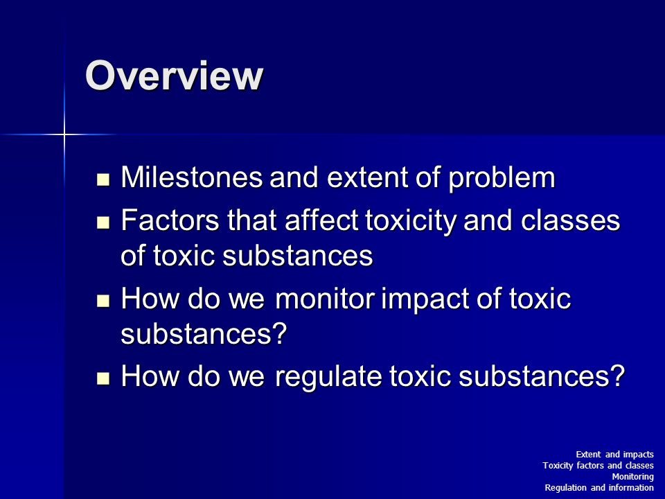 Overview Milestones and extent of problem Milestones and extent of problem Factors that affect toxicity and classes of toxic substances Factors that affect toxicity and classes of toxic substances How do we monitor impact of toxic substances.
