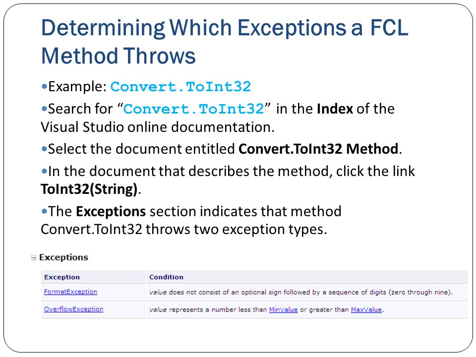Determining Which Exceptions a FCL Method Throws Example: Convert.ToInt32 Search for Convert.ToInt32 in the Index of the Visual Studio online documentation.