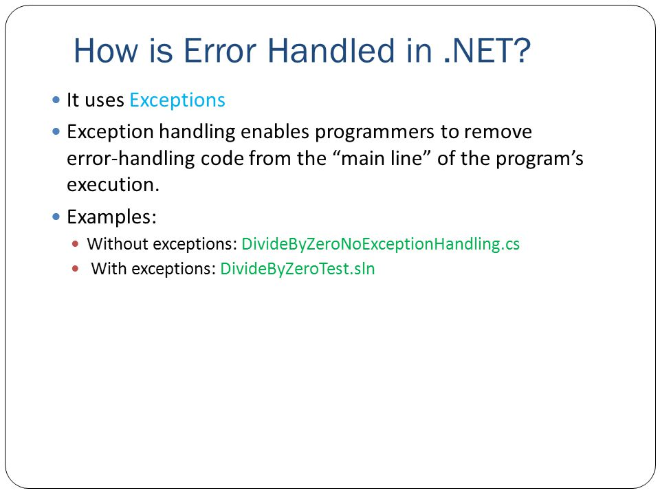 How is Error Handled in.NET.