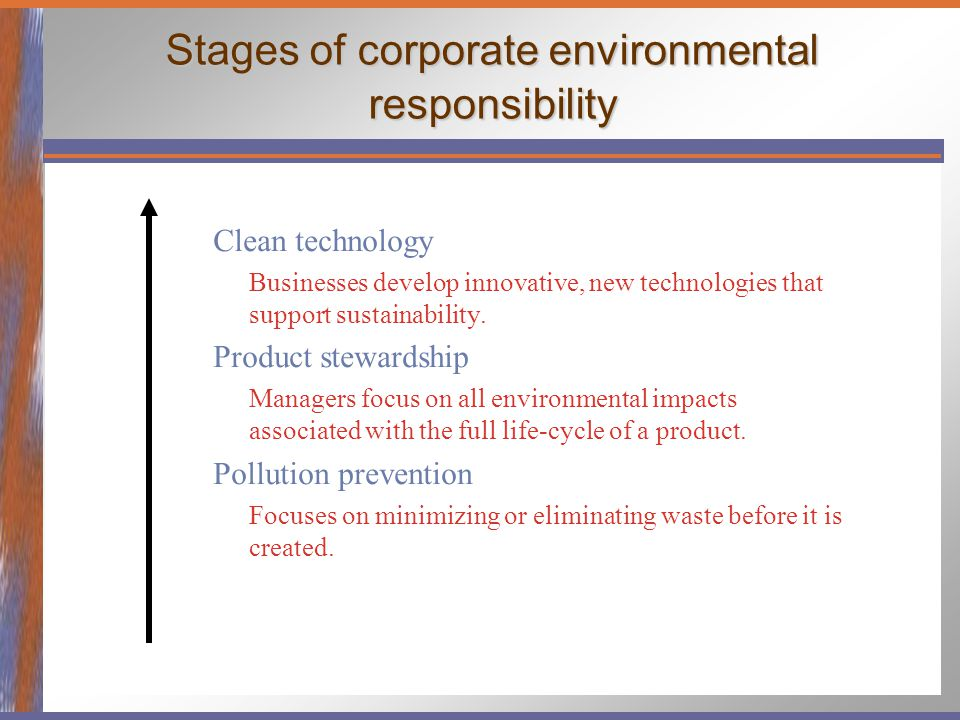 Stages of corporate environmental responsibility Clean technology Businesses develop innovative, new technologies that support sustainability. Product