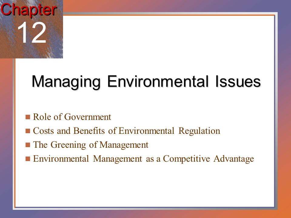 Major areas of environmental regulation Air pollution Occurs when more pollutants are emitted into the atmosphere than can safely be absorbed and diluted by natural processes.