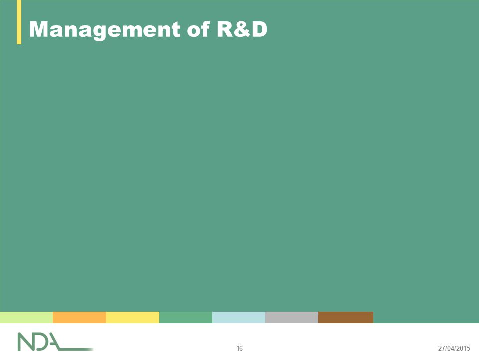 27/04/2015 16 Management of R&D
