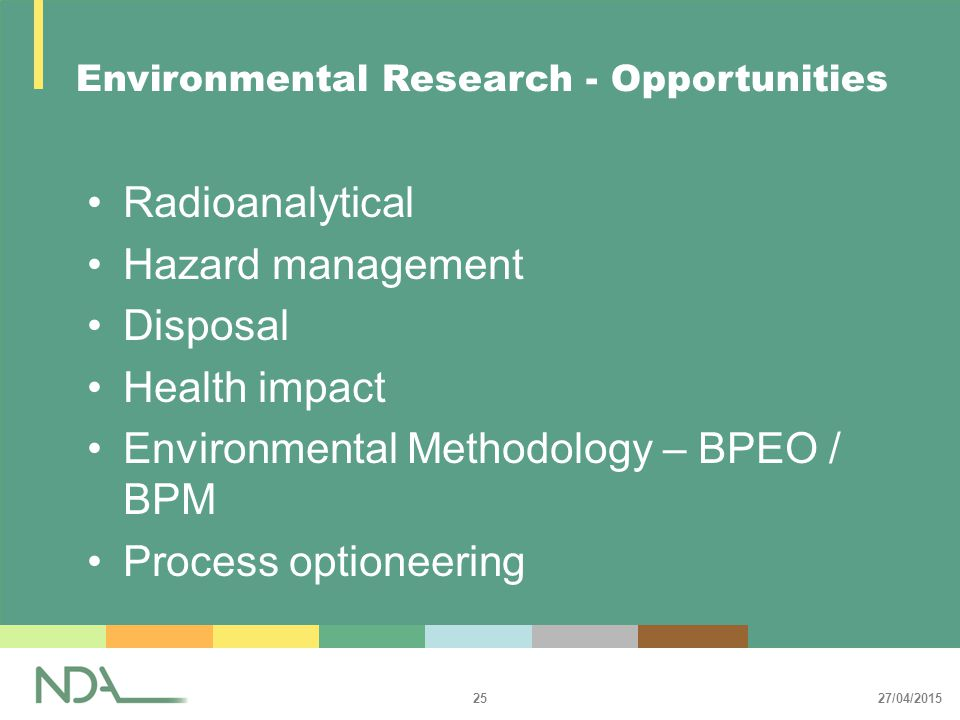 27/04/2015 25 Environmental Research - Opportunities Radioanalytical Hazard management Disposal Health impact Environmental Methodology – BPEO / BPM Process optioneering