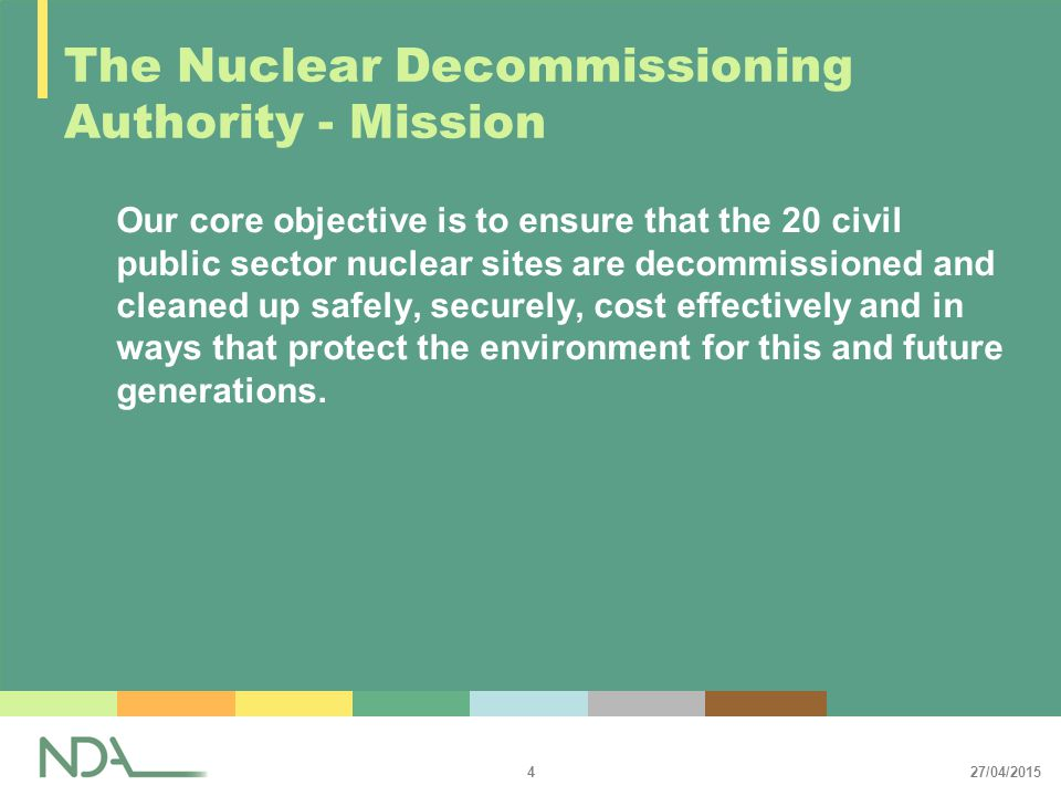 27/04/2015 5 The Nuclear Decommissioning Authority 2001: Government announced intention to make radical changes to the way that nuclear clean-up is managed and funded by the UK taxpayer 2002: White Paper published proposing the creation of the Nuclear Decommissioning Authority (NDA) 2004: The Energy Act 2004, which established the NDA, is enacted 2004: NDA issued its first Annual Plan 2005: NDA became fully operational on 1 April 2005: NDA issued draft Strategy for Consultation 2006: NDA Strategy Published