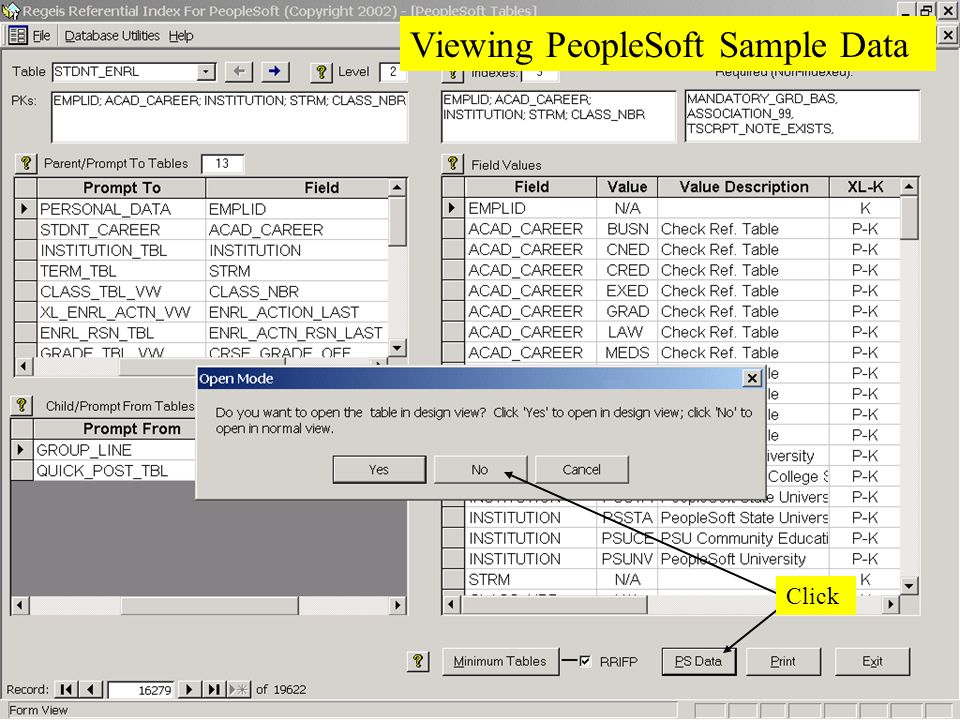 Coppin State College Viewing PeopleSoft Sample Data Click