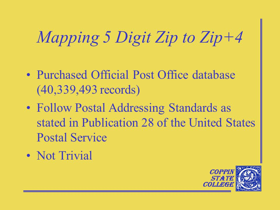 Coppin State College Mapping 5 Digit Zip to Zip+4 Purchased Official Post Office database (40,339,493 records) Follow Postal Addressing Standards as stated in Publication 28 of the United States Postal Service Not Trivial