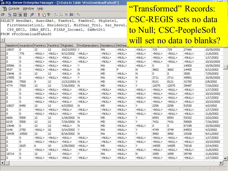 Coppin State College Transformed Records: CSC-REGIS sets no data to Null; CSC-PeopleSoft will set no data to blanks
