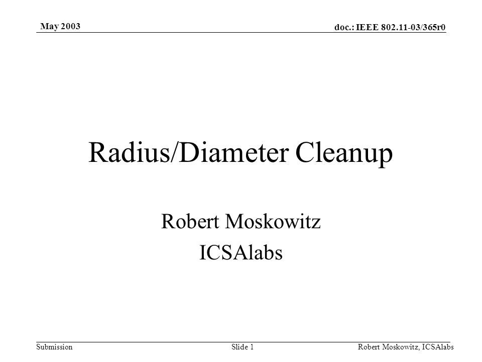 doc.: IEEE 802.11-03/365r0 Submission May 2003 Robert Moskowitz, ICSAlabsSlide 2 What's the problem.