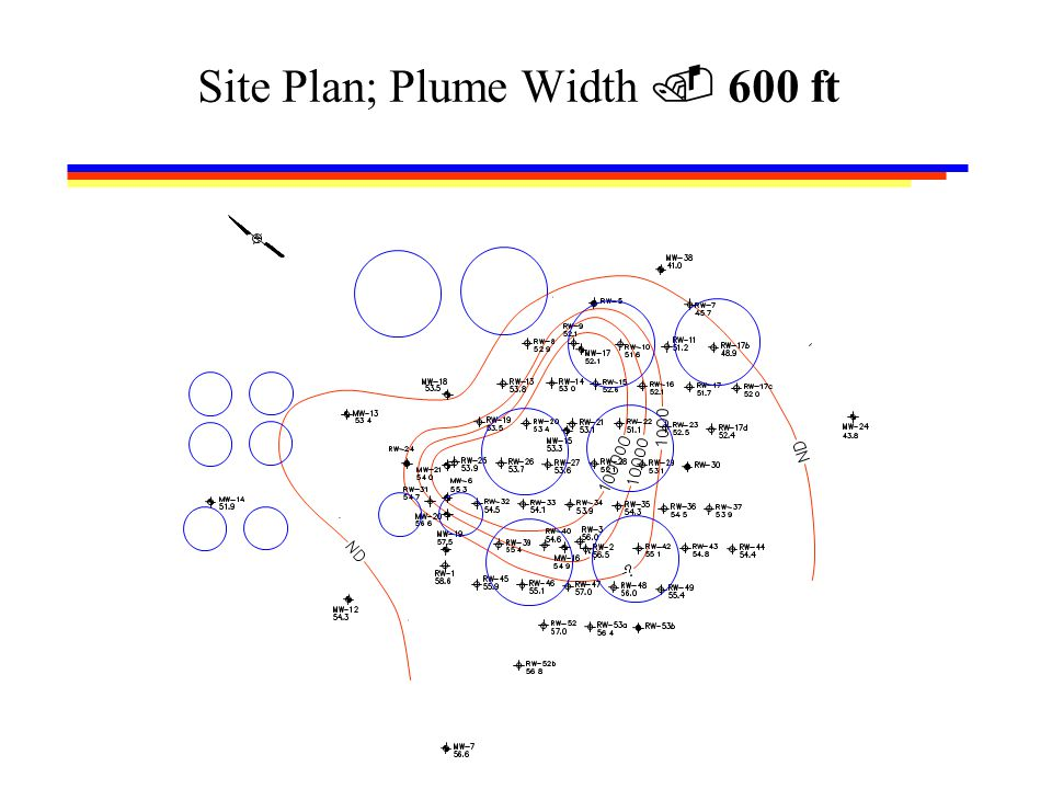 Site Plan; Plume Width  600 ft