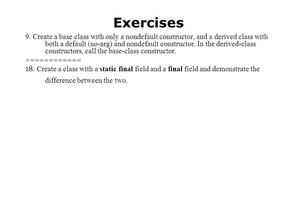 Exercises 9.