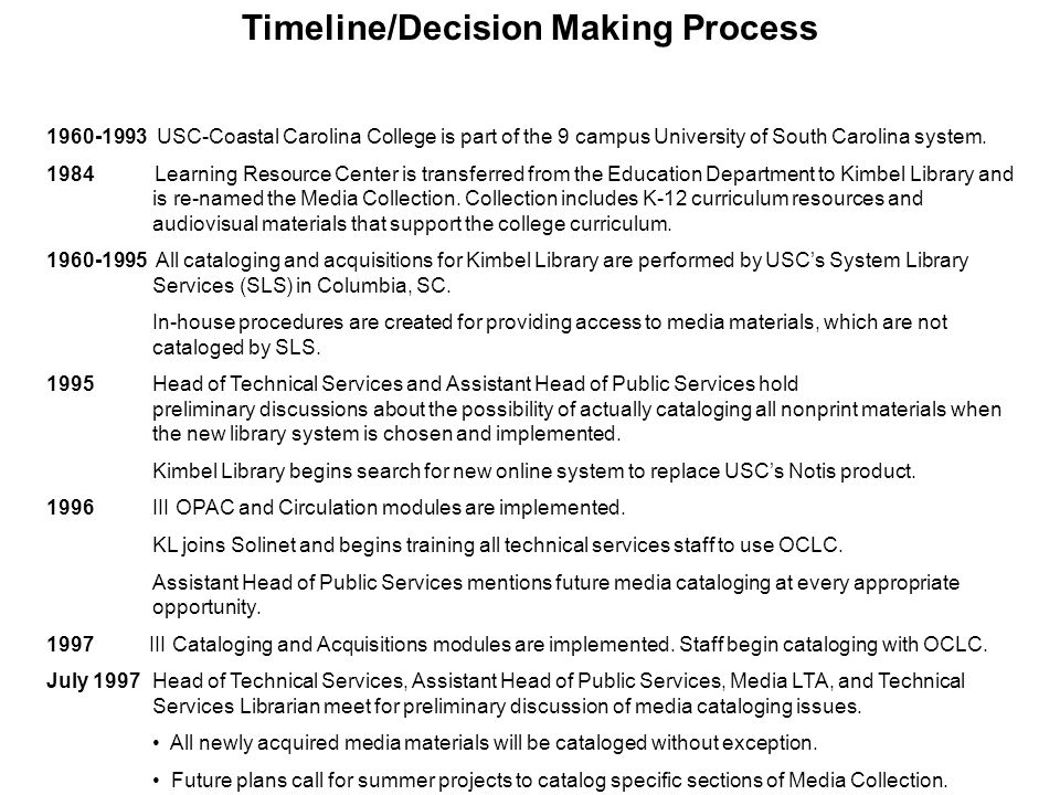 Timeline/Decision Making Process 1960-1993 USC-Coastal Carolina College is part of the 9 campus University of South Carolina system. 1984 Learning Res