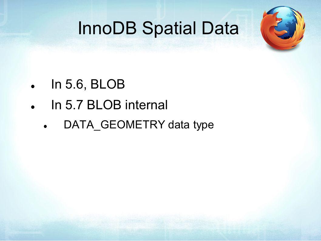 InnoDB Spatial Data In 5.6, BLOB In 5.7 BLOB internal DATA_GEOMETRY data type
