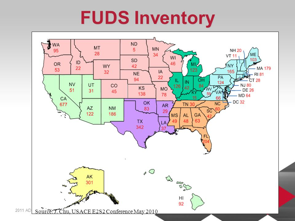 2011 ADC WINTER FORUM | PAGE 10 FUDS Inventory Source: J. Chu, USACE E2S2 Conference May 2010