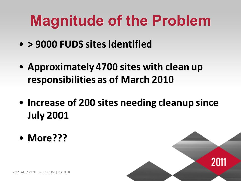 2011 ADC WINTER FORUM | PAGE 8 Magnitude of the Problem > 9000 FUDS sites identified> 9000 FUDS sites identified Approximately 4700 sites with clean u