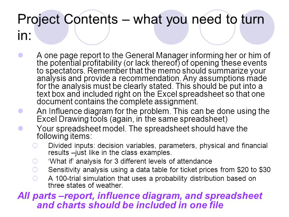 Project Contents – what you need to turn in: A one page report to the General Manager informing her or him of the potential profitability (or lack the