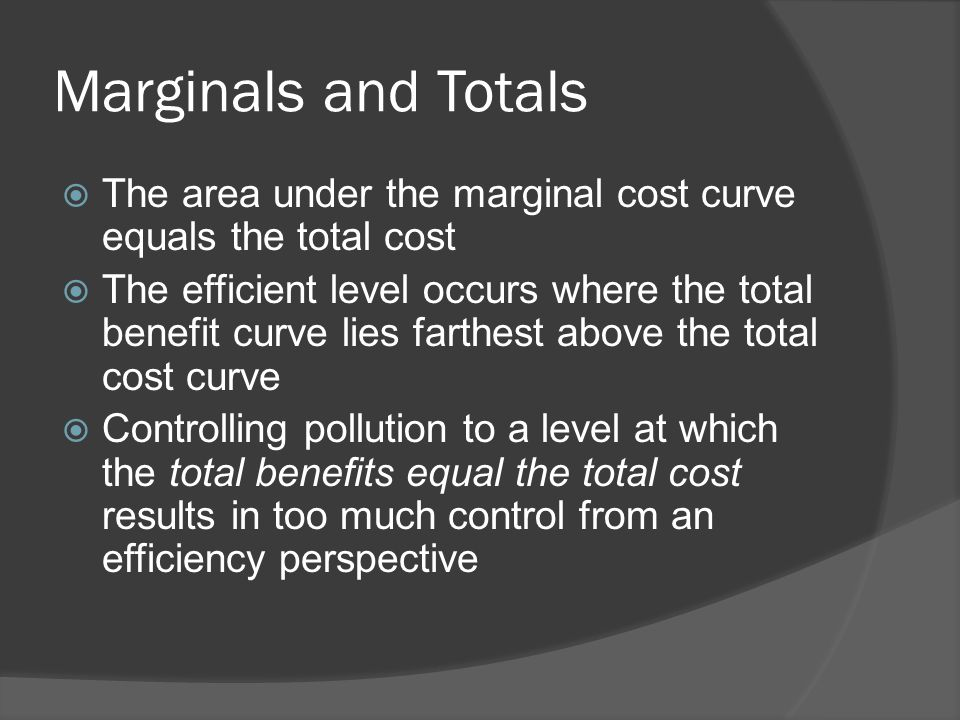 Marginals and Totals  The area under the marginal cost curve equals the total cost  The efficient level occurs where the total benefit curve lies fa