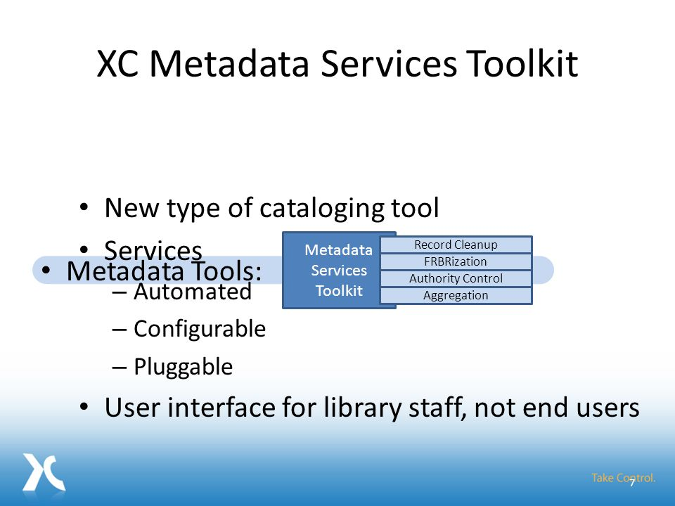 Metadata Services Toolkit Add Repositories Schedule Harvests Orchestrate Services Browse Records Make improved metadata available Metadata Services Toolkit Record Cleanup FRBRization Authority Control Aggregation Metadata Tools: 18