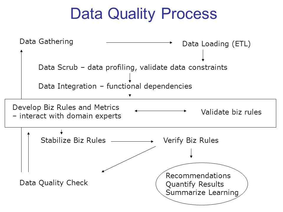 Data Quality Process Data Gathering Data Loading (ETL) Data Scrub – data profiling, validate data constraints Data Integration – functional dependencies Develop Biz Rules and Metrics – interact with domain experts Validate biz rules Stabilize Biz RulesVerify Biz Rules Data Quality Check Recommendations Quantify Results Summarize Learning