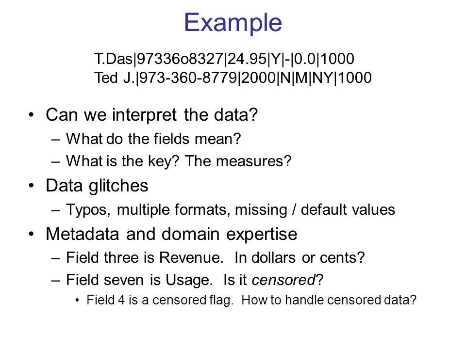Example Can we interpret the data. –What do the fields mean.